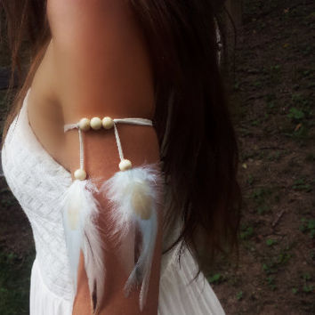 Arctic Star- Feather Armband, feather arm cuff, upper arm band, boho armband, tribal armband, indian armband, native american, style