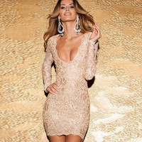 Long Sleeve Floral Lace Deep V-Neck Backless Bodycon Mini Dress
