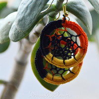 Dream Catcher Earrings - Multicolor Dreamcatcher Earrings - Dangle Earrings - Boho Earrings - Black Yellow Orange