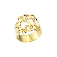 18K Yellow Gold plated Monogrammed Ring