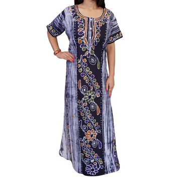 Mogul Beautiful Printed Cotton Caftan Short Sleeves Button Front Sleepwear Night Dress Maxi Kaftan - Walmart.com