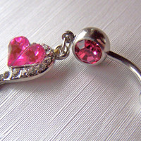 Navel Ring Heart Belly Ring Bellybutton Ring by daisysgemgarden