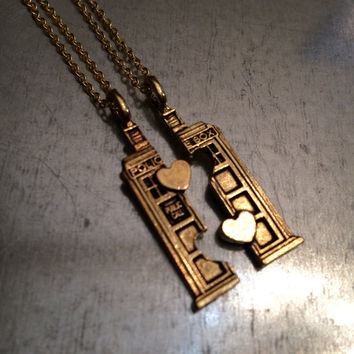 Phone Booth Gold Plated Double Heart Friendship Necklace