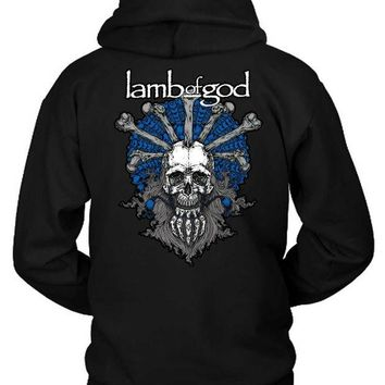 LMF1GW Lamb Of God Skull Old Man Blue Hoodie Two Sided