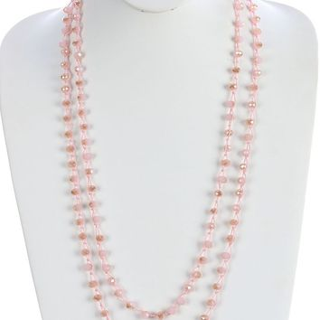 Pink Iridescent Glass Bead Extra Long Wraparound Necklace