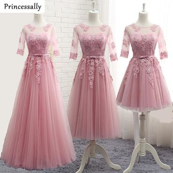 Dusty Pink Bridesmaid Dress Appliques Lace Floor Length Half Sleeved  Robe De Doiree Formal Prom Party Bride Elegant Gown New