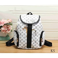 LV men and women casual fashion backpack F-KSPJ-BBDL White