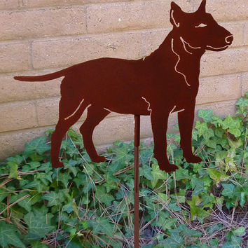 Bull Terrier Garden Stake, Pet Memorial, Ornament, Steel Yard Art, Dog Breed Specific, Rustic