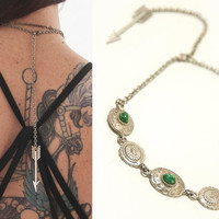 Reworked Silver Concho Choker Necklace with Arrow and Green Stones | Sterling Soutwestern Boho Chic Silver Necklace 70s Hippie Gypsy Jewelry