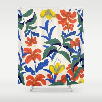 Vintage Floral Pattern Shower Curtain by chotnelle
