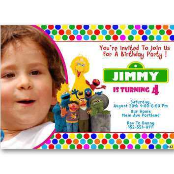 Sesame Street Invitation Birthday Party, Colorful, Polka Dot Kid Birthday Invitation Party Design