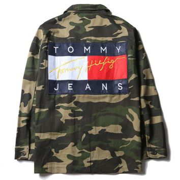 Tommy Hilfiger jeans camouflage green Buttons jacket coat