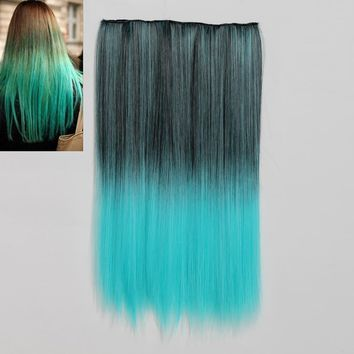 NAWOMI 1Pcs 5 Clip In Ombre Black Blue Heat Friendly Resistant Synthetic Hair Extension