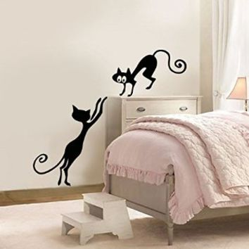Wall Decal Vinyl Sticker Black Cat Kitten Animals Kids Nursery Dorm B435