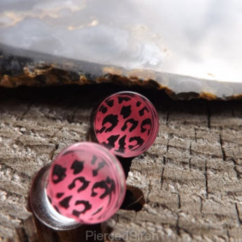 Pink Cheetah Plugs Gauges Print Clear Girly Stretched Earlobes Ear Double Flair Animal Pattern Body Jewelry Girly Plugs Pretty earrings 0g