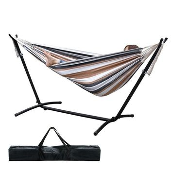 Double Hammock Camping Bed Chair with Space Saving Steel Stand and Portable Carrying Case Polyester Outdoor