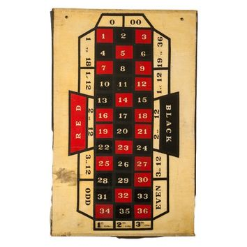 Vintage Roulette Gaming Board Handmade Wooden Folk Art