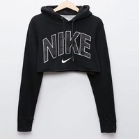 Nike Popular Women Casual Print Long Sleeve Hoodie Crop Top Sweatshirt Pullover Top Black I