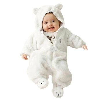 2017 Baby Rompers Bear coral fleece Hoodies Jumpsuit