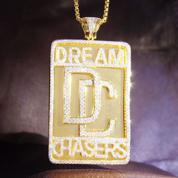 14k Gold Finish Iced out Dream Chasers Custom Pendant Chain