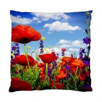 "Poppies And Wild Flowers Standard Throw Pillow Cover Case 17"" 1-Sided"