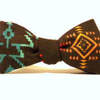 Southwestern Self Tie Bow Tie Brown Yellow Orange Blue Espresso Arrows Pixelated Native American Designer Adjustable Childs Mens Gift Unique