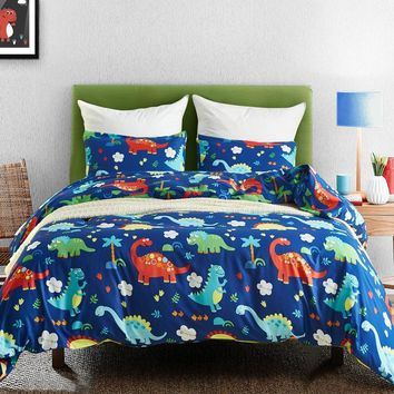 Cartoon Bed Clothes Kids Bed Linen Set Dinosaur Bedding Set Bedclothes Microfiber Comforter Duvet Cover Set Twin Queen for Teens