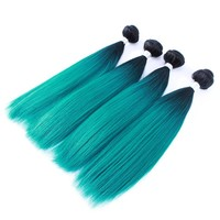 100g 4 Pcs/lot Yaki Straight Synthetic Hair Weft Weaving Ombre Color