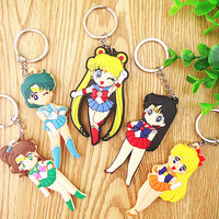 Kawaii 5pc/set Beautiful Anime Cartoon Sailor Moon Key Chains