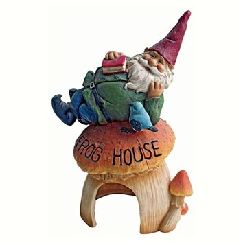 Gnome's Frog House Garden Statue