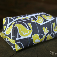Bird Print and Polka Dot Makeup bag / Cosmetic bag / Pencil Case / Accessories Bag / Travel Pouch / Box Bag