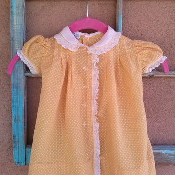 Vintage 1950s Baby Dress Sundress Dotted Swiss Polka Dot 12 Months Toddler