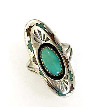 Southwestern Sterling Silver Ring Native American Shadow Box Turquoise Stone Coral and Turquoise Inlay Border Gift for Her US Size 9