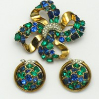 TRIFARI 1950 Jeweled Symphony Brooch and Earring Demi Parure Set