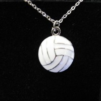Round Pewter Volleyball Necklace