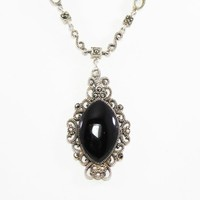 Sterling Silver Marcasite Pendant Necklace w/ Specialty Chain, Victorian Revival, Black Cabochon, Signed 925 Modern Gothic Style 1980s 1990s
