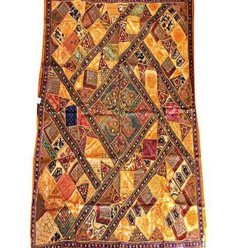 Mogul Ethnic Tapestry Embroidered Handmade Patchwork Brown Wall Hanging Throw 90x80: Amazon.ca: Home & Kitchen
