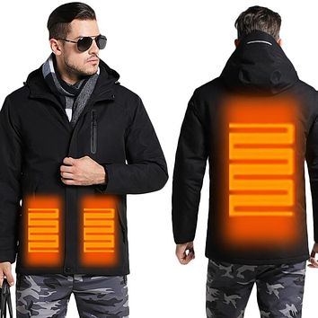 Men's Winter USB Heating Jacket Men Waterproof Reflective Hooded Coat Male Warm Parka Cotton Windbreaker Mens Rain Jackets AM354