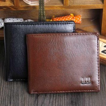 Men's Bifold Business Leather Wallet  ID Credit Card Holder