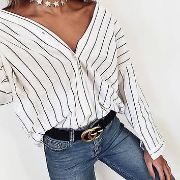 Women Ladies Clothing Tops Long Sleeve Striped Fashion Shirt Casual Blouse Tops Loose Clothes Women