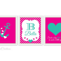 Such a big HEART in such a little girl Wall Art Print // Girls Room Decor // Heart Nursery // Personalized Print // Anchor Print // 8x10