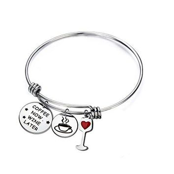 ENSIANTH Coffee Now Wine Later Bracelet Stainless steel adjustable Bangle for Women Coffee and Wine Lovers Gift