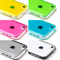 For iPhone 5C Ultra Thin Transparent Crystal Clear Hard TPU Case Cover + Film