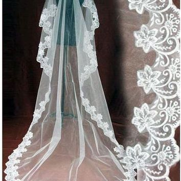 2018 One Layer Bridal Ivory Wedding Veil Laciness 3 meters Long Veil Free Shipping