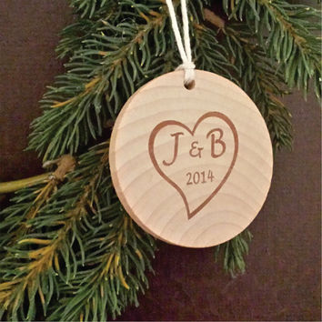 Two Initials Inside a Heart Engraved on a Round Wooden Personalized Christmas Ornament