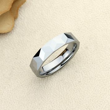 Personalized Name Ring Custom Engraving 6mm Tungsten Comfort Fit Wedding Band Triangular Prism Patterns Band - CZRTN115