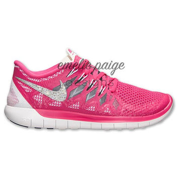Nike Free Run 5.0 (Pink/Gray) running shoes with Swarovski Crystals
