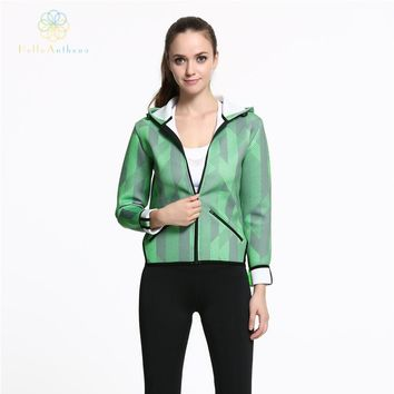 Hello Anthena Women's Space Cotton Full Zip Jacket Polyester/Spandex Workout Hoodie Coat Quick Response Sports Clothing Running