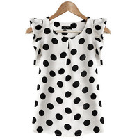 Women Chiffon Slim Short Sleeve Polka Dot Top _ 12551