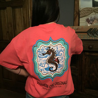 SALE Southern Chics Sassy Classy Collection Preppy Seahorse Distressed Bright T Shirt